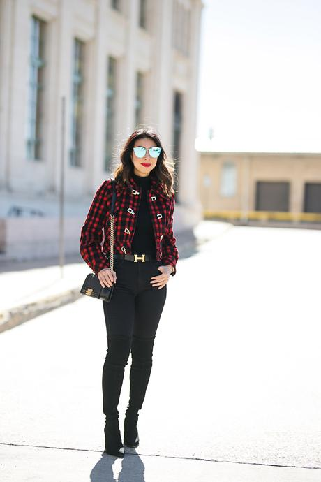 From Grandma with Love // Red Buffalo Plaid Cropped Jacket