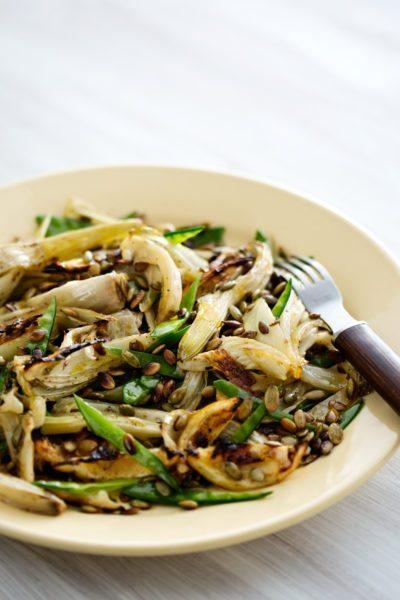 Roasted fennel with lemon and sugar snaps