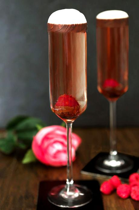 Raspberry and Chocolate Sparkling Rosé Cocktail