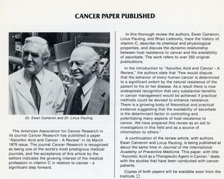 Cameron and Pauling's Attack on Conventional Views of Cancer