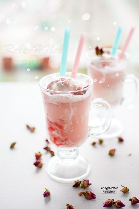 Rhubarb rose ice cream floats for valentines day
