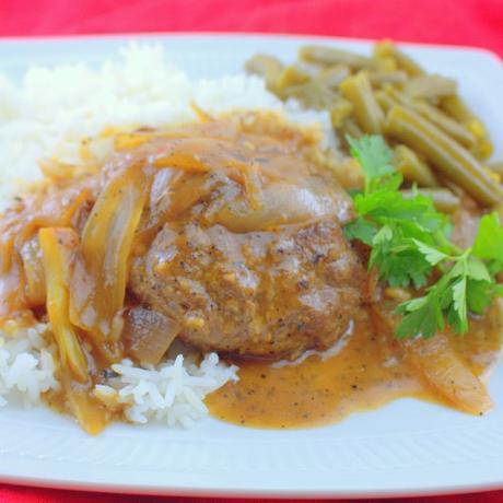 Easy Beef Patties in Onion Gravy (Hamburger Steaks in Gravy)