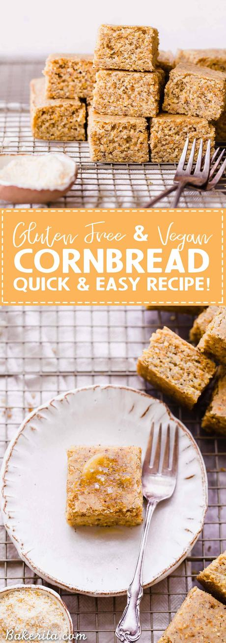 This Gluten Free + Vegan Cornbread is fluffy and light with an amazing texture from the cornmeal! It's perfect served with soup or chili, served as a side or snack, or just topped with a little bit of butter or spread.