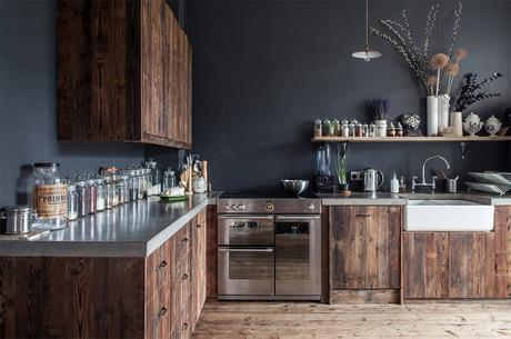 Kitchen style tips and inspiration. Make a dramatic impact with darker wall colours and rich deep wood shades.