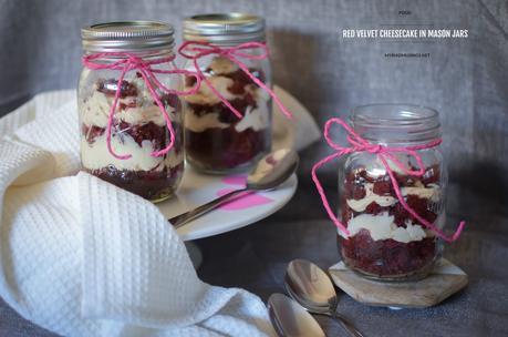 red velvet cheesecake in a mason jar, dessert, red velvet cake, food photography, food display, food in a jar, dessert in a jar, valentines day dessert, sweet, food blog myriad musings