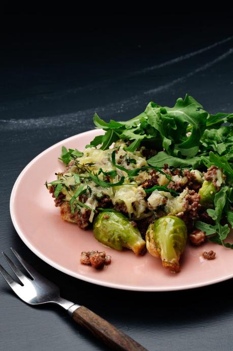 Keto Brussels sprouts and hamburger gratin