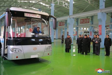 KJU Visits Pyongyang Trolley Bus Factory
