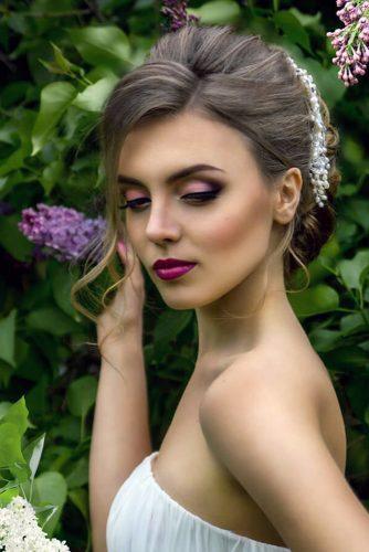 makeup ideas for wedding bride lilac matte eyes and lips makeup iconbride via instagram