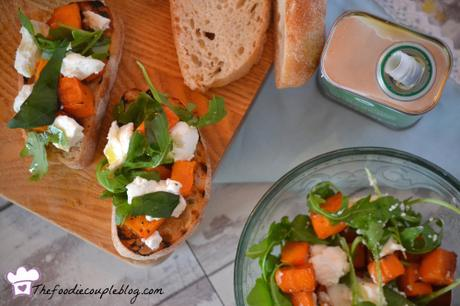 Goats Cheese, Sweet Potato & Basil Bruschetta