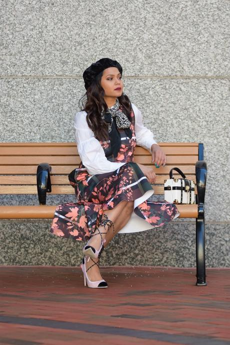 parisian chic, peplum hem dress, dress over shirt, winter style, layered outfit, balloon sleeves shirt, white in winter, street stye, myriad musings
