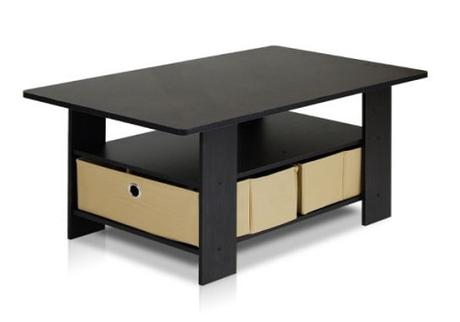 coffee tables for small spaces - Furinno Coffee Table with Bins