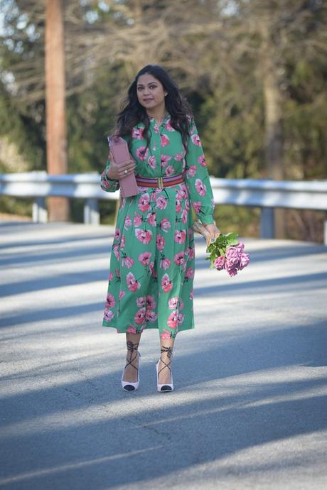 how to wear bright florals, who what wear skirt and top, flower print, valentines day outfit, green adn pink, street style, spring outfit, fashion, lookbook, myriad musings, fur coat