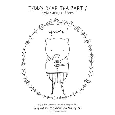 Teddy Bear Tea Embroidery Pattern