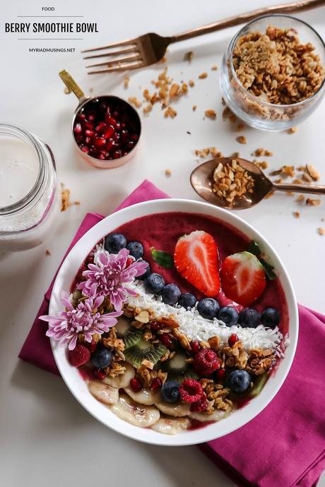 , acai berry bowl, healthy breakfast, food photography, yum, gluten free recipe, happy, colorful, foodie, easy breakfast , myriad musings 1