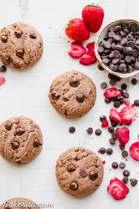 These Flourless Strawberry ChocolateChip Cookies are thick, gooey and SO delicious, with a fruity strawberry flavor and melty chocolate chips. They're gluten-free, paleo, and vegan, and made with just six ingredients!