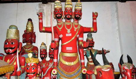 Wooden idols at the Nandikeshwara temple