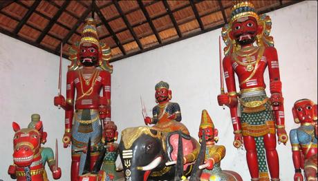 Miscellaneous wooden idols at the Mekkikattu temple