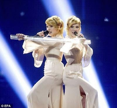 blonde Polina ' A Million Voices' at Eurovision ~ 'anti-booing' technology