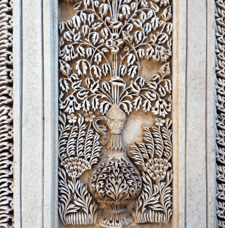 Intricate stucco work in Paigah tombs