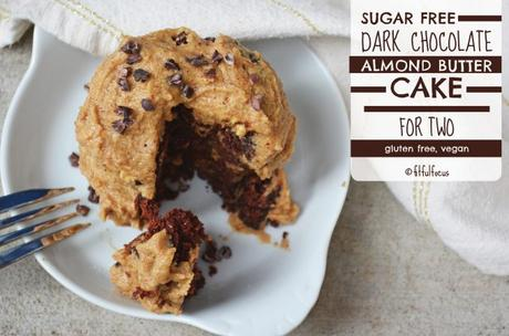 Sugar Free Dark Chocolate Almond Butter Cake For Two (gluten free, vegan)