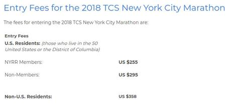 Entry Fee #TCSNYCMarathon