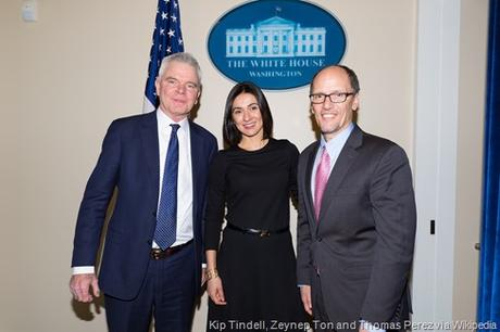 12th February 2016 - Washington, D.C. - U.S. Secretary of Labor Thomas Perez host Conscious Capitalism CEO Convening at the White House. LtoR Kip Tindell, CEO, The Container Store, Zeynep Ton, MIT Sloan School , and Sec. Perez ***Official Department of Labor Photograph*** Photographs taken by the federal government are generally part of the public domain and may be used, copied and distributed without permission. Unless otherwise noted, photos posted here may be used without the prior permission of the U.S. Department of Labor. Such materials, however, may not be used in a manner that imply any official affiliation with or endorsement of your company, website or publication. Photo Credit: Department of Labor Shawn T Moore