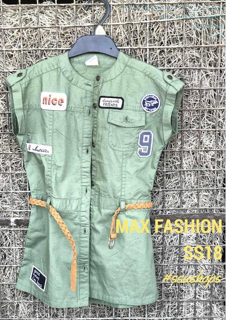 MAX Fashion SS18 Girls Collection - Shirt Dress with patch Details in Military Green Color