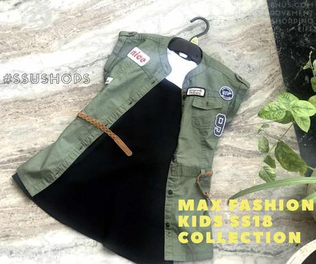 From MAX Fashion SS18 Kids collection - A military color shirt dress with patch details and A-line dress in black with white shirt.