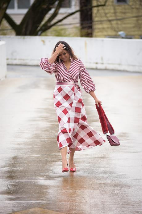 new york and company plaid and stripe dress, print mixing, spring ready, easter red dress, summer style, ootd, myriad musings