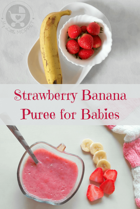 Give your little one a mix of sweet and tart flavors in this bright and nutritious strawberry banana puree for babies!