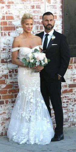 celebrity wedding dresses mermaid off the shoulder lace floral ornament trish peng