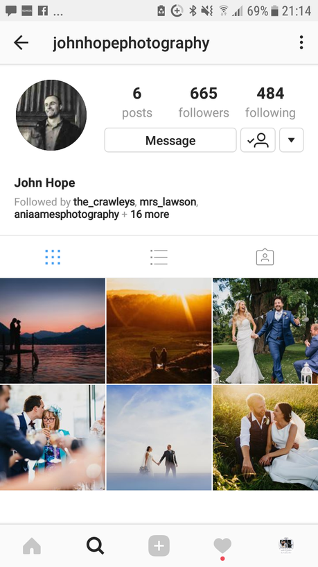 Instagram feed with thumbnails of wedding photography work from John Hope in Yorkshire