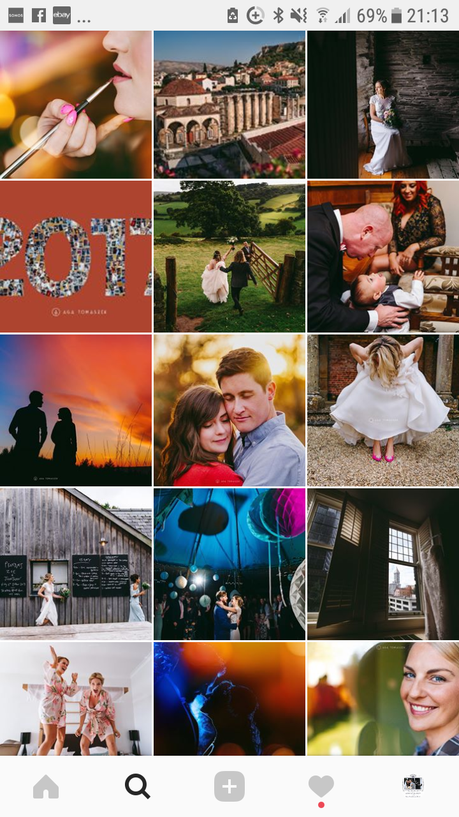 Instagram feed with thumbnails of wedding photography work from Aga Tomaszek in Wales