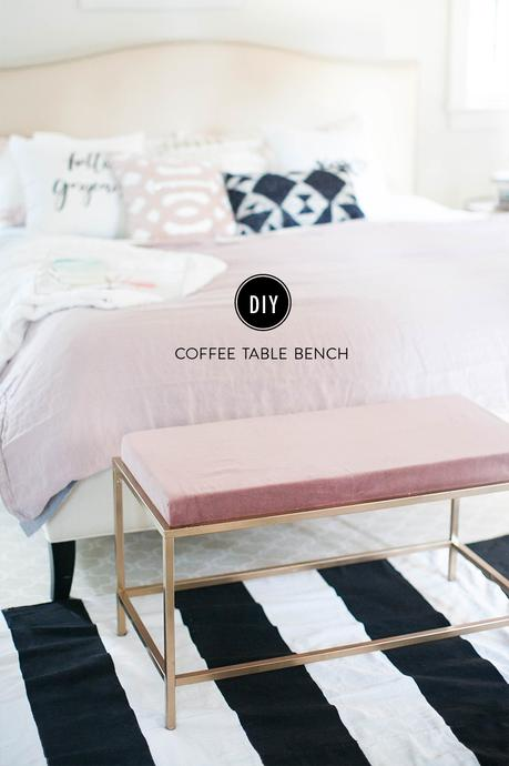 Cool DIY ideas for your home. Glam gold and pink coffee table bench by Style Me Pretty.