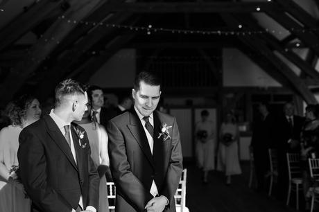 Sandburn Hall Wedding Photography groom waiting for bride to arrive