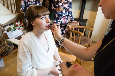 Yorkshire Wedding Photography bride having makeup applied