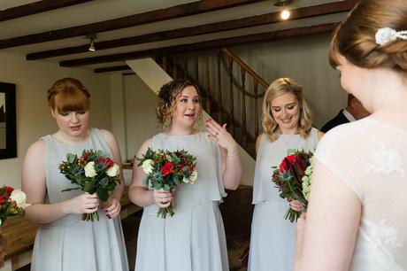 Bridesmaid cries seeing bride in her dress Yorkshire Wedding Photographer