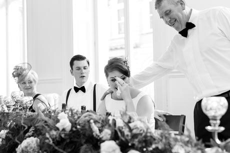 Fun Wedding Photography in Yorkshire bride laughs so hard she cries during speechs