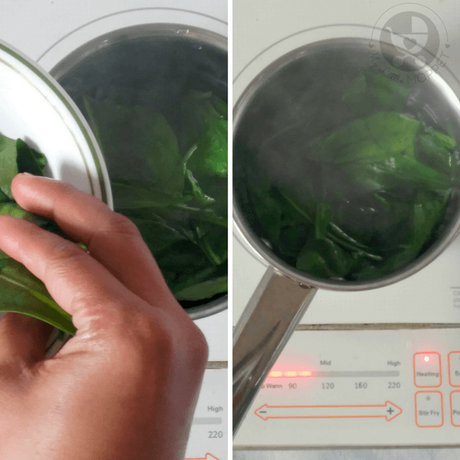 cook the spinach leaves