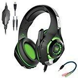 Cosmic Byte GS420 Headphones with Mic, RGB LED lights and Audio Splitter for PS4, Xbox One, Laptop, PC, iPhone and Android Phones (Black/Green)