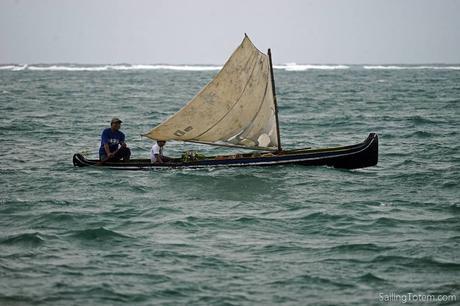 sailing dugout canoe