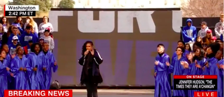Jennifer Hudson Performs 'The Times They Are A Changing' At Rally