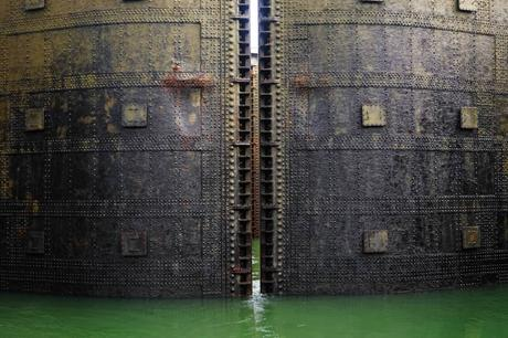 Massive steel lock gates in the canal