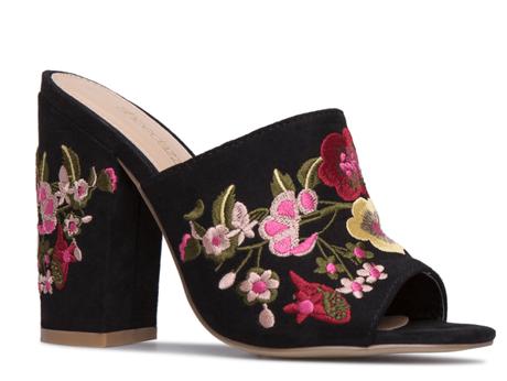 mule, sandal, embroidered sandal