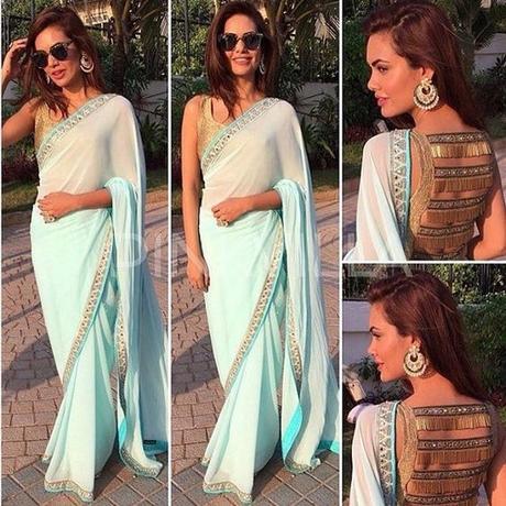 Esha Gupta's aqua blue chiffon saree