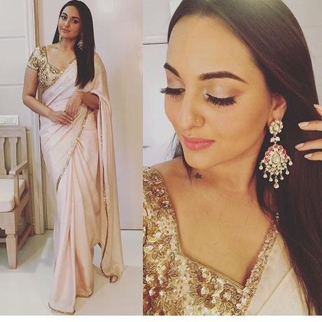Sonakshi wearing saree