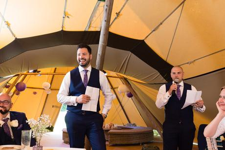 Bell Hall Wedding Photography speeches inside the tipi best man