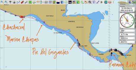 OpenCPN screenshot of our route from Panama to Mexico