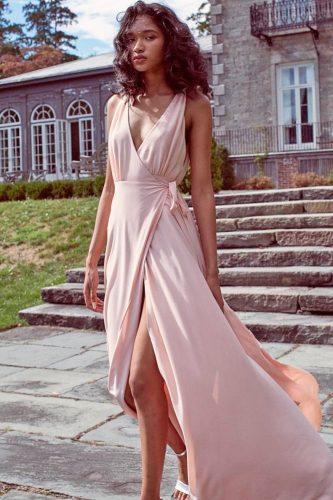 mellow rose summer color palette long high slit v neck spaghetti straps bridesmaid dresses joanna august
