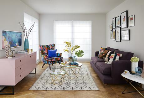 The Ideal Home Show- Styled by Sophie Robinson. colourful furniture and gold accents.